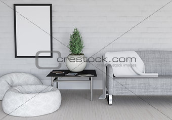 3D modern room interior with blank picture frame