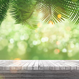 3D white wooden table looking out to a defocussed background wit