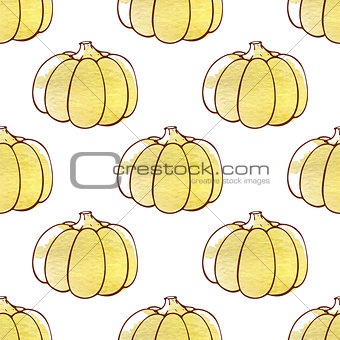 Autumn pattern with pumpkins