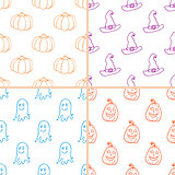 Simple Halloween doodle patterns