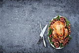 Overhead Shot of Delicious Roasted Thanksgiving Turkey with Knif