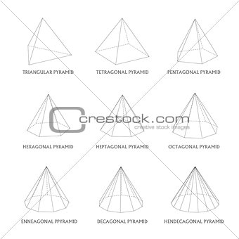 3d pyramids template. Realistic with shadow
