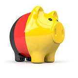 fat piggy bank in german colors