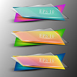 Set of colourfull transparent banners