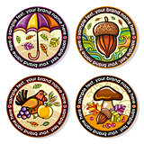 Autumn drink coasters for beer or hot beverages. Seasonal series.