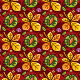 Autumn seamless pattern with leaves and chestnut