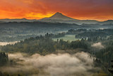 Mount Hood and Sandy River Valley Sunrise