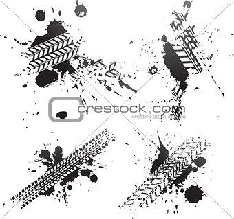 Black tire tracks isolated on white background