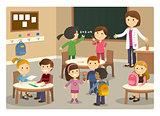 Pupils and teacher starting class at school