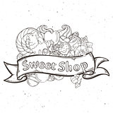 Label sweet shop. Swirl candy, chocolate, lollipop, caramel, cream.