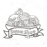 Label sweet shop. Swirl candy, chocolate, lollipop, caramel, cream.