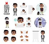 Set boys character creation set. Icons with different types of faces and hair style, emotions, front, rear, side view of male person. Elements of web design for kindergarten, schools and colleges.