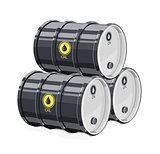 Three Black metal barrel for oil.