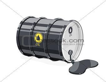 Black metal barrel for oil with spot.