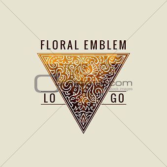 Calligraphic Triangle symbol. Gold Lines label Ornament. Restaurant Luxury emblem vintage ornate greeting card design