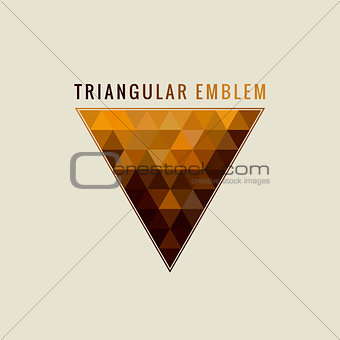 Calligraphic Triangle logo. Gold Lines label Ornament. Restaurant Luxury emblem vintage ornate greeting card design