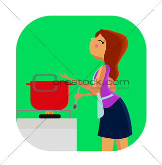 Cute young woman cooking.