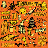 Halloween hand drawn doodle elements
