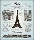 Paris collection elements vector hand drawn