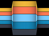 3D multicoloured striped structure on black