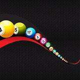 Bingo lottery balls over abstract wave on black honeycomb