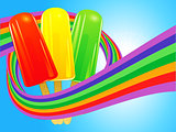 Ice lollies wrapped in a rainbow over blue sky