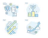 Set of concept line icons for CRM, business strategy, growth and success