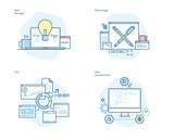 Set of concept line icons for web design and  development, SEO, web manager
