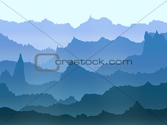 abstract vector watercolor misty mountains landscape