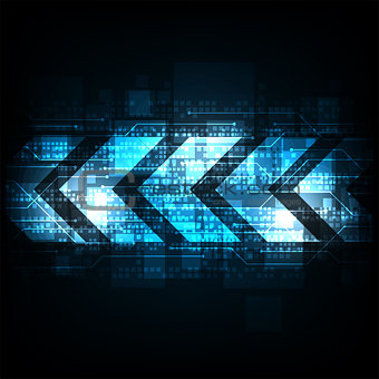 Arrow in technology concept on a dark blue background.