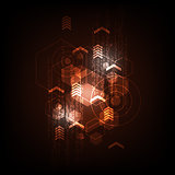 Geometry in technology concept on a dark orange background.