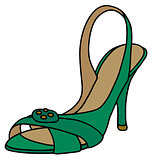 Green sandal on high heel