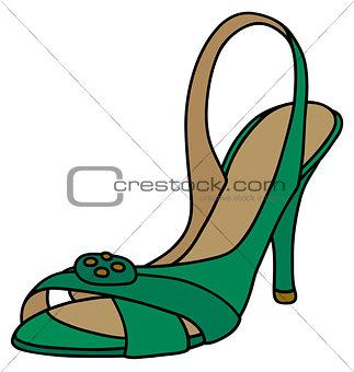 Green sandal on high heel