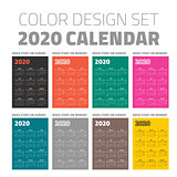 Color pocket calendar set 2020