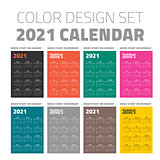 Color pocket calendar set 2021