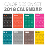 Color pocket calendar set 2018