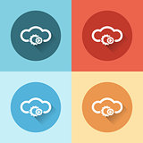 cloud service with gears flat icons