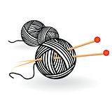 Hand drawn sketch yarn ball with needles for knitting. Vector black and white vintage illustration