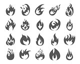 Set of various fire elements.