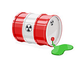 Red metal barrel for toxic and radioactive waste.