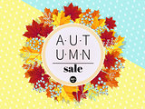 Autumn Sale. 3D stylized multicolored leaves wreath. Round fall leaves and berries frame with autumn discount text. Cartoon style vector illustration