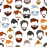 Seamless pattern of men cartoon hairstyles with beards and mustache.Fashionable stylish types lumbersexual or hipsters silhouette seamless background. Cartoon style vector illustration