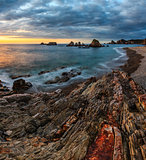 Gueirua beach at sunset, Asturias, Spain.