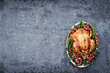 Overhead Shot of Delicious Roasted Thanksgiving Turkey