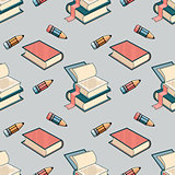 Vector Seamless pattern with book and pencil.