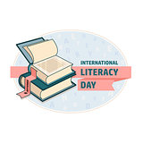 International Literacy Day card. Book and ribbon.