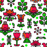 Vector Seamless pattern with flowers and leaves.