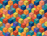 Geometric colorful seamless pattern. Mosaic cubes.