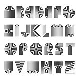 Striped english alphabet. Vector linear font.