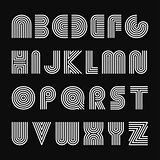 Vector striped english alphabet. Linear font.